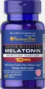 Melatonina Puritan's Pride 10 mg Sublingual 45 Tabletes Sabor Cereja