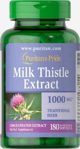 Silimarina Milk Thistle Extract 1000 mg Puritan's Pride 180 Softgels