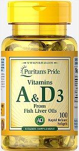 Vitaminas A e D3 5000/400 UI Puritan's Pride 100 Sopftgels