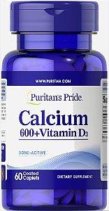 Carbonato de Cálcio + Vitamina D3 250 UI Puritan's Pride 60 Cápsulas