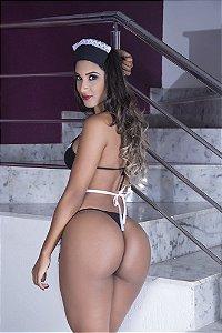 Fantasia Feminina Empregada Sexy com Vestido, Fio Dental e Tiara