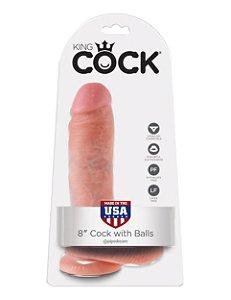 """Dildo com escroto King Cock 8"""" Pele Branca(14,6 x 5,1 cm)"""