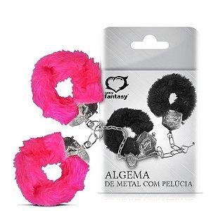Algemas de Metal em Pelúcia Pink