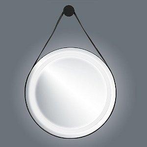 Espelho Murano Em Couro 72cm Com Led
