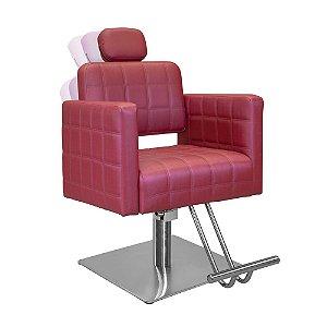Cadeira de Cabeleireiro Calábria Encosto Reclinável com Cabeçote