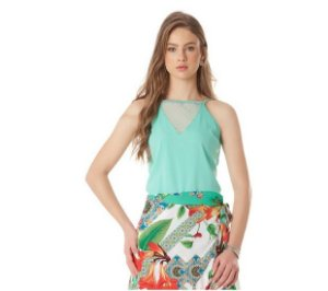 blusa de alça decote em tule Averzzy romântica