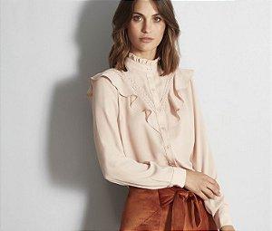 Camisa rose com babados
