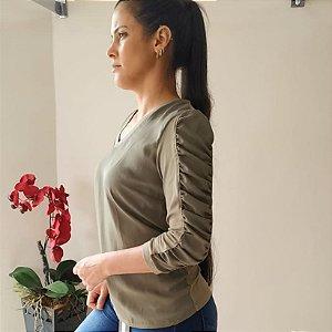 Blusa manga franzida