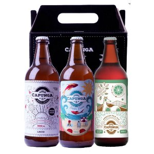 KIT AURORA: 1 CAPUNGA LAGER 600ML + 1 PILSEN PRAIA 600ML +1 CAPUNGA APA 600ML