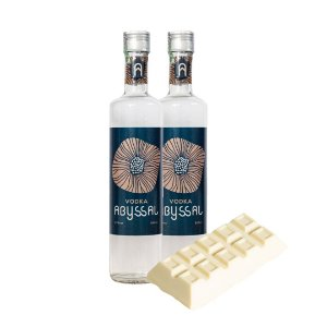 2 Vodka Abyssal 500ml + 01 BARRA TRUFADA DE CHOCOLATE BRANCO (FINO NORDESTE)