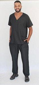Pijama Cirúrgico Preto Liso Masculino