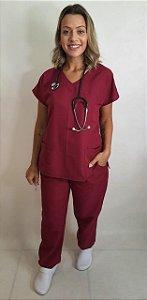 Pijama Cirúrgico Marsala Feminino