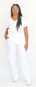 Pijama Cirúrgico Branco Neve Feminino