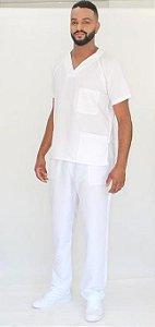 Pijama Cirúrgico Branco Neve Masculino