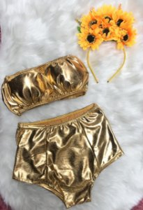 Conjunto Cropped + Hot Pant Dourado