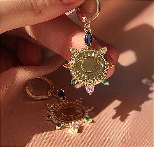 Mini Argola Colorida - Dourado