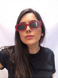 Óculos de Sol Retangular - Vermelho