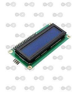 DISPLAY LCD 16X2 FUNDO AZUL ESCRITA BRANCA COM I2C SOLDADO