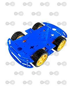 KIT CHASSI 4WD 4 RODAS COM MOTORES BASE AZUL ACRÍLICO 3 MM