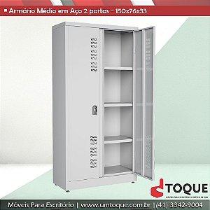 Armário de aço para escritório com 2 portas W3 - 150x76x33