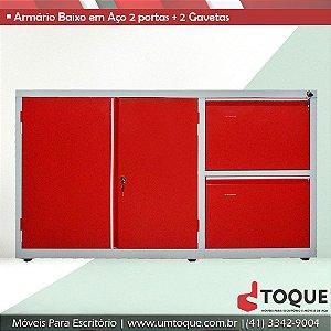 Armário de aço para escritório com 2 portas + 2 Gavetas LN - 71x124x50