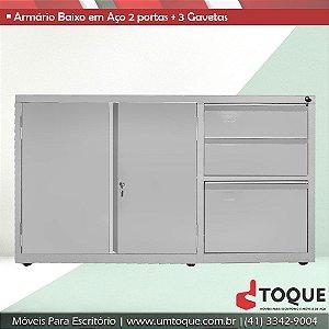 Armário de aço para escritório com 2 portas + 3 Gavetas LN - 71x124x50