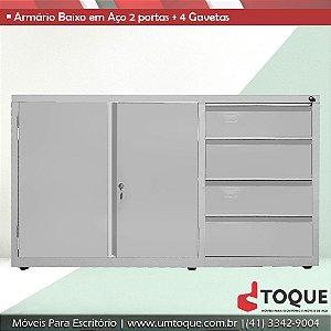 Armário de aço para escritório com 2 portas + 4 Gavetas LN - 71x124x50