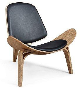 Cadeira Decorativa para Escritório ANM 2601 Madeira com Preto