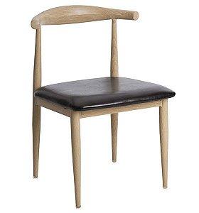 Cadeira Decorativa para Escritório ANM 6610 Madeira com Preto