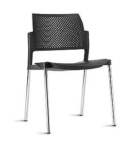 Cadeira Empilhável Fixa Kyos Preta