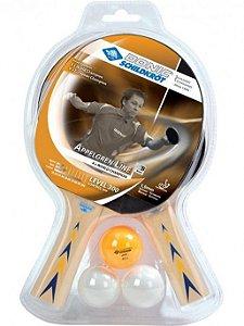 Kit 02 Raquetes Ping Pong Donic Appelgren 300 + 03 Bolas