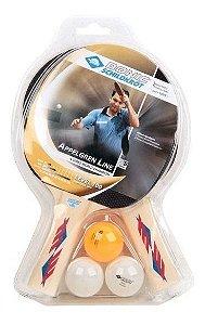 Kit 02 Raquetes Ping Pong + 03 Bolas - Donic Appelgren 100