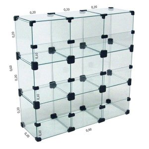 Baleiro de Vidro 60L x 60A x 20P cm