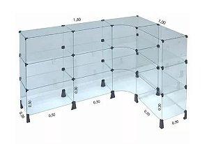 Balcão de Vidro em L 100 x 150L x 90A x 30P cm