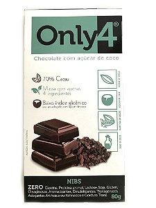Chocolate com Açúcar de Coco - Nibs - 80g Only4