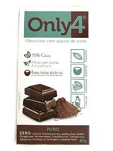 Chocolate com Açúcar de Coco - Puro - 80g Only4