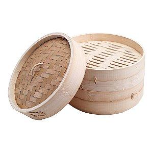 Cesta de Bambu Cozimento a Vapor - 21 cm - (Bamboo Steamer)
