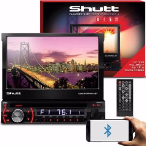 Dvd Player Automotivo Retrátil Shutt Bluetooth Usb Sd Aux