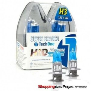 Kit Lampada Super Branca H3 55w 8500k Tech One