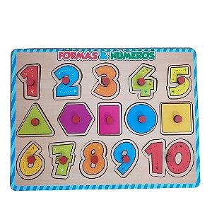 Quebra-cabeça com Pinos - Encaixe de Números e Formas