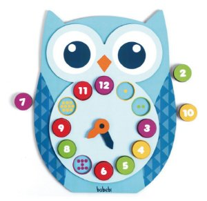 Relógio infantil pedagógico de encaixe - Relógio da corujinha