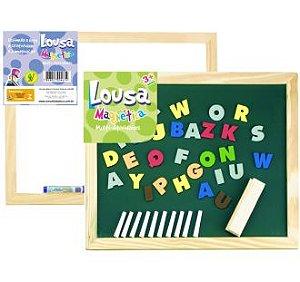 Lousa infantil educativa para giz e caneta com letras magnéticas