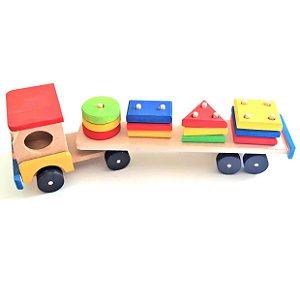 Caminhão de madeira - Carreta Brinquedo de Encaixe