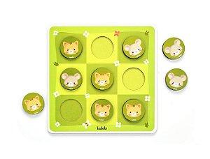 Brinquedo pedagógico de madeira  - Jogo da velha entre gato e rato