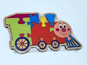 Quebra-cabeça infantil de madeira - Trenzinho