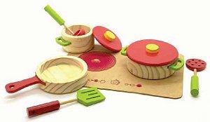 Panelinhas de brinquedo - Kit utensílios e panelinhas de madeira