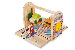 Brinquedo educativo 3 anos - Posto de gasolina de madeira