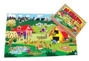Quebra-cabeça Infantil Gigante Fazenda - 96 Peças