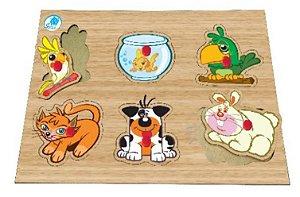 Quebra-cabeça com pinos - animais de estimação - brinquedo educativo