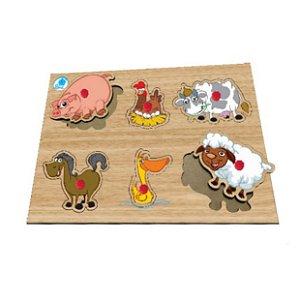 Quebra-cabeça com pinos - animais da fazenda - brinquedo educativo